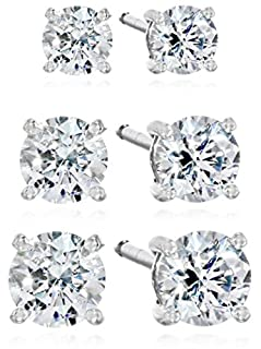 Platinum-Plated Sterling Silver Swarovski Zirconia Stud Earring Set (3/4, 1, and 2 cttw) (B06XX1HQPR) | Amazon Products