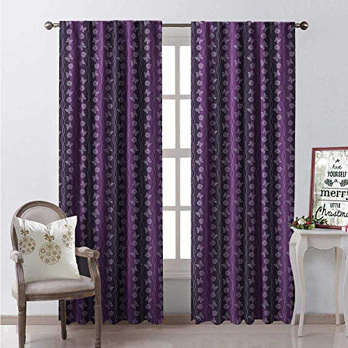 Hengshu Purple Butterfly Window Curtain Drape Twisted Lines and Wavy Stripes Flower Silhouette Customized Curtains W120 x L108 Dark Purple Pale Mauve Violet