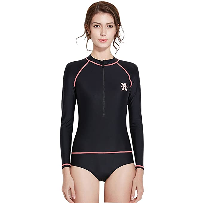 5eaa25889c9 DIVE   SAIL Women s Swimsuit Long Sleeve Rash Guard UV Sun Protection Surfing  Suit One Piece