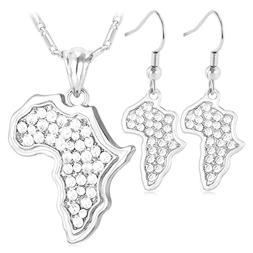 Africa Map Design Jewelry Platinum Plated Rhinestone Crystal African Earrings Necklace Set Women by U7