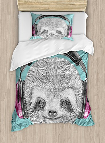 Ambesonne Sloth Duvet Cover Set Twin Size, DJ Sloth Portrait with Headphones Funny Modern Character Cool Smiling, Decorative 2 Piece Bedding Set with 1 Pillow Sham, Teal Grey