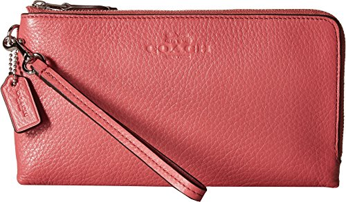 COACH Women's Pebbled Leather Double Zip Wallet Sv/Peony One Size