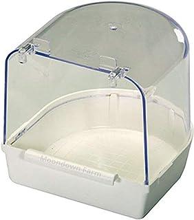 Moondown Farm Cage Bird Bath White Plastic for Finch, Canary, Budgie