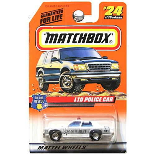 - Matchbox 1998 To The Rescue Ford LTD Police Car Sheriff White Black # 24