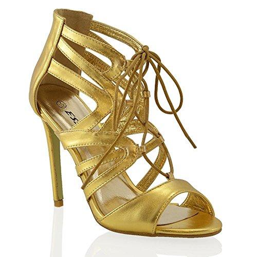 Lacci Con Sandalo Sintetico Metallico Essex out Donna Oro Cut Glam Y401aqwR
