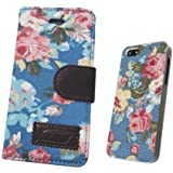 iphone 5 5S , IPHONE 5C Luxury Vintage Shabby Chic Cute Flowers Floral Designer Purse Pouch Wallet Case -Tpu leather Floral Blue+Free Floral Blue Case To Match The Purse
