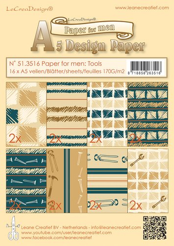 Leane Creatif Paper for Men A5 Design Paper - Masculine Colors and Patterns ()