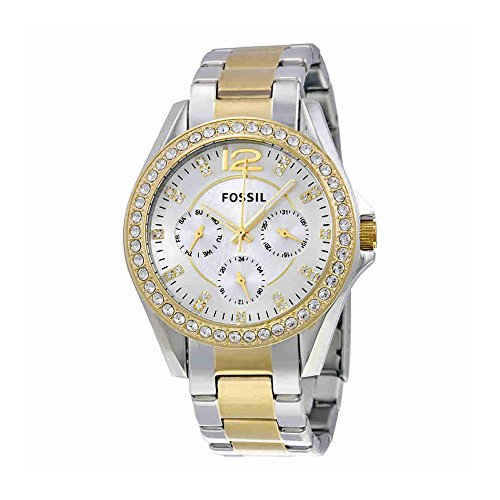Fossil Women's Riley Quartz Two-Tone Stainless Steel Dress Watch, Color: Silver and Gold-Tone (Model: (Fossil Womens Crystal Watch)