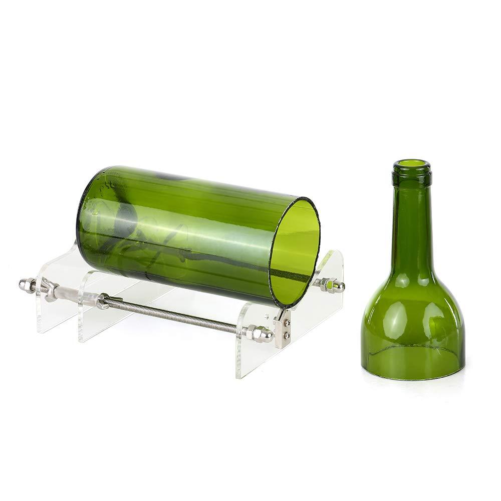 Blusea Weinflasche Cutter,Glas Flaschenschneider Acryl DIY Flasche Schneidwerkzeug mit Sandpapier f/ür Wein Bierflaschen Mason Gl/äser
