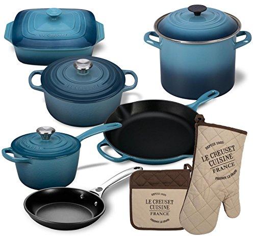 Le Creuset 12 Piece Basic Kitchen Essentials Cookware Bundle (Marine)