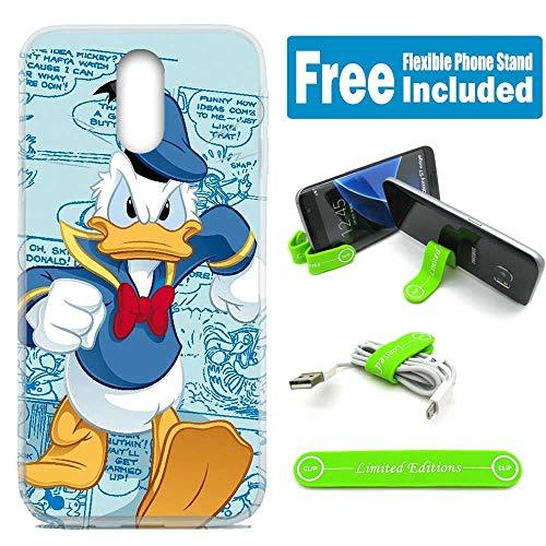 [Ashley Cases] for Galaxy [J7 2018] [J7 Star] [J7 Refine] [J7 Aero] [J7 Eon] [J7 Crown] [J7 Aura] Cover Case Skin with Flexible Phone Stand - Donald Duck Mad Walking