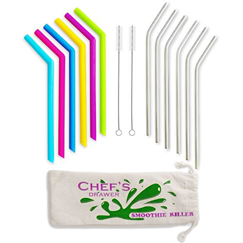 Reusable Straws – 12 Straws, Set Including Smoothie Straws and Stainless Steel Straws and Cleaning Brush, Wide and Long Reusable Straws with Cotton Storage Pouch Bag