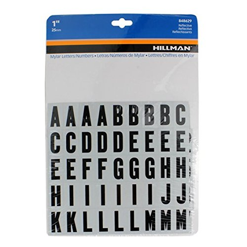 "The Hillman Group 848629, 1"" Reflective Black Letters & Numbers Kit"