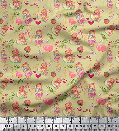 Soimoi Beige Cotton Poplin Fabric Balloon & Teddy Bear Kids Print Fabric by The Yard 42 Inch Wide (Fabric Teddy Bear)