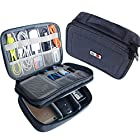 BUBM Electronic Organizer, Double Layer Travel Gadget Carry Bag for Cables, Plugs, Earphone, Flash Hard Drive and More–a Sleeve Pouch for iPad Mini(Medium, Dark Blue)