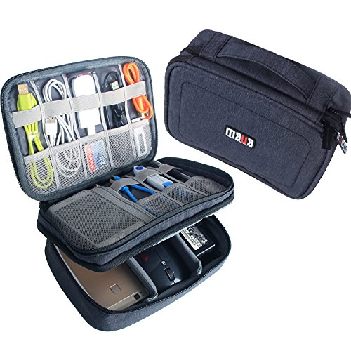 BUBM Electronic Organizer, Double Layer Travel Gadget Carry Bag for Cables, Plugs, Earphone, Flash Hard Drive and More--a Sleeve Pouch for iPad Mini(Medium, Dark Blue) by BUBM