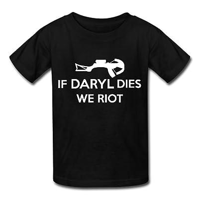 Hailin Tattoo Boys Girls Tshirt If Daryl Dies We Riot Big Tall Short-Sleeve T-Shirt Fashion Couple Tees