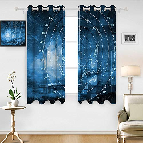 SATVSHOP Thermal Insulating Blackout Curtain- 72W x 84L Inch- Patterned Drape for Glass Door.Navy Blue Modern Ship with adar Exposure in The Screen Digital Electronic Hi Tech Futuristic Concept Blue.