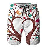 Adults Cute Heart Trees Fishing Shorts Elastic Waist Quick Dry Board Shorts