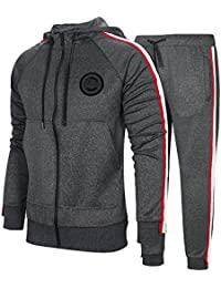 6b49c0b87728 Men s Hooded Athletic Tracksuit Full Zip Casual Jogging Gym Sweat Suits