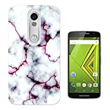 C0803 - Cool Bloggers Favourite White Marble Effect Design Motorola Moto X Play Fashion Trend CASE Gel Rubber Silicone All Edges Protection Case Cover