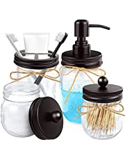 KPX 4pcs Rustic Mason Jar Bathroom Accessories Set- Liquid Soap Pump Dispenser and 2 Small Apothecary Storage Glass Jars&Toothbrush Stand Holderfor Bathroom, Farmhouse Home Decor, Kitchen Sink
