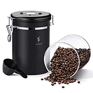 Soulhand Coffee Container Airtight Coffee Canister Stainless Steel Container UNIQUE GLASS INNER 22oz Food Storage with CO2-Release Valve and Date Tracker Extra Coffee Scoop-Keep Beans Fresher