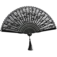 ROSENICE Hand Held Fans Folding Fan Spanish Victorian Hand Fan for Wedding Party(Black)