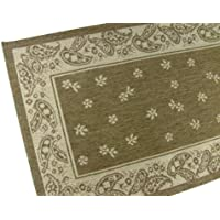 American Mills Paisley Floral Polypropylene Indoor/Outdoor Area Rug, 2-Feet by 7-Feet 6-Inch, Chocolate