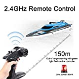 HONGXUNJIE 2.4Ghz RC Boat- 20 mph High Speed Remote Control Boat for Adults and Kids for Lakes and Pools with 2 Rechargeable Batteries, Low Battery Alarm, Capsize Recovery