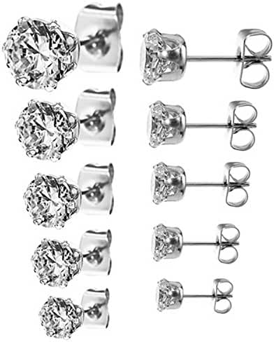 Set of 5 Pair(3,4,5,6,7mm) Round Cz 925 Sterling Silver Stud Earrings; Individually Packaged