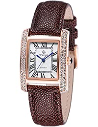 Womens Leather Band Square Dial Dress Watches Analog Quartz Business Wrist Watch Brown