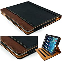 """New S-Tech Black and Tan Apple iPad 9.7"""" 2017 Model Soft Leather Wallet Smart Cover with Sleep / Wake Feature Flip Case"""