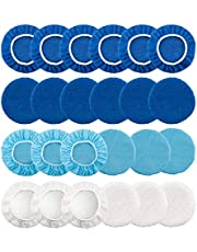 LUTER 5-6 Inch 24pcs Polishing Bonnet Pads Microfiber Wax Applicator Including 12 Packs Microfiber Waxing Bonnet 6 Packs Wool Buffing Pads 6 Packs Non-Woven Buffing Pad
