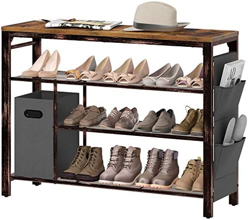 Rolanstar Shoe Rack, 4-Tier Entryway Shoe Storage Organizer, Free-Standing Shoe Rack Table with Non-woven Storage Bin and Side Bag, Holds 11-13 Pair of Shoes