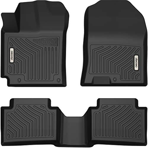 OEDRO Floor Mats Compatible with 2018-2022 Hyundai Kona (NO Electric Models), Unique Black TPE All-Weather Guard Includes 1st and 2nd Row: Front, Rear, Full Set Liners