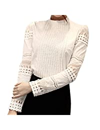 SODIAL(R) Fashion New Hot Women Long Hollow Splicing Shirt Lace Sleeve OL Tops Round Collar Blouse White M