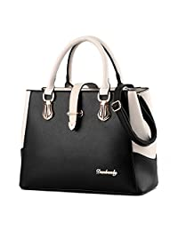 Tibes Ladies PU Leather Handbag with Shoulder Strap Purses and Handbags for Women Top-Handle Satchel with Zipper Closure