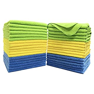 Polyte Premium Microfiber Cleaning Towel,16x16 in 36 Pack (Blue,Green,Yellow)