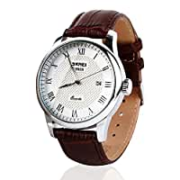 Mens Quartz Analog Roman Numeral Watch Waterproof Unique Business Casual Fashion Wristwatch, Stainless Steel Case Classic Calendar Date Window, 30M Water Resistant, Comfortable PU Leather Band -Brown