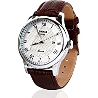 Mens Unique Roman Numeral Fashion Design Quartz Analog Waterproof Wrist Business Casual Watch with Stainless Steel...