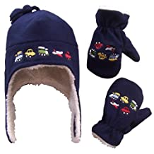N'Ice Caps Boys and Baby Fleece Embroidered Hat Mitten Set