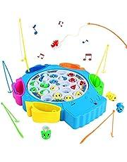 Juegos de Pesca Musical Juguetes de Pesca Rotación de Juguete Pescar Peces Juegos Educativos para Niños 3 4 5 Años(Forma de Delfín)