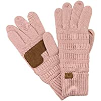 C.C Unisex Cable Knit Inner Lined Anti-Slip Touchscreen Texting Gloves