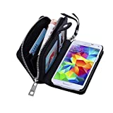 Dreams Mall 2 in 1 PU Leather Wallet Purse Case Protection for Samsung Galaxy S5 with Stand Flip Cover and Strap, Black