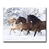 Wall Art Painting Three Horses Running In Snow Pictures Prints On Canvas Animal The Picture Decor Oil For Home Modern Decoration Print