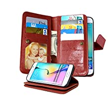 Galaxy S6 Edge Case, NOKEA [Wallet] [Kickstand] [Anti-Scratches] [Shock Resistant] and [Drop Protection] Premium PU Leather Flip Wallet Case Cover for Samsung Galaxy S6 Edge (Brown)
