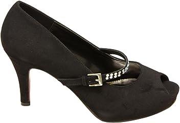 a8817ea0bb6a7 Lasonia M7725 Women s peep Toe Platform Cone Heels with Upper Rhinestone  Decor Strap Pumps