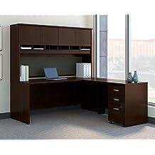 "Bush BBF Series C 72"" L-Shaped Desk with Hutch in Mocha Cherry"
