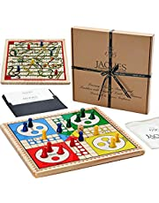 Jaques of London Snakes and Ladders & Ludo on a Beautiful Solid Wooden Reversible Board - Complete with Wooden Playing Pieces - On Your Side Since 1795